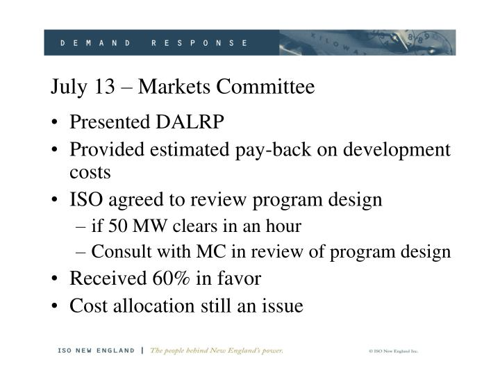 July 13 markets committee