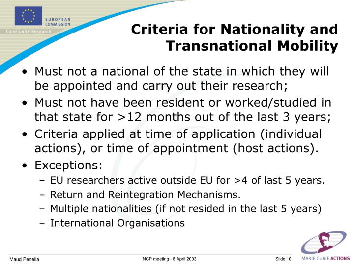 Criteria for Nationality and