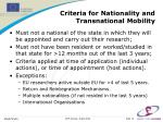 criteria for nationality and transnational mobility