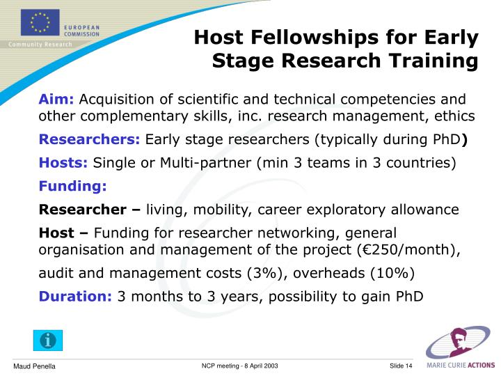 Host Fellowships for Early Stage Research Training