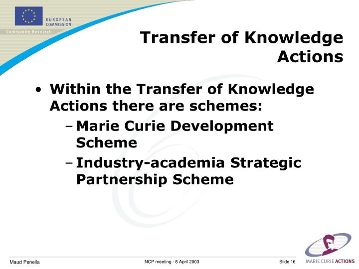 Transfer of Knowledge Actions