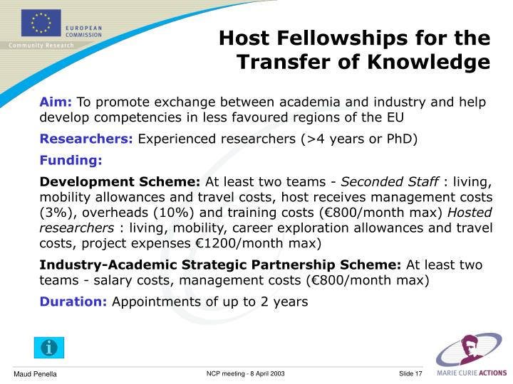 Host Fellowships for the Transfer of Knowledge
