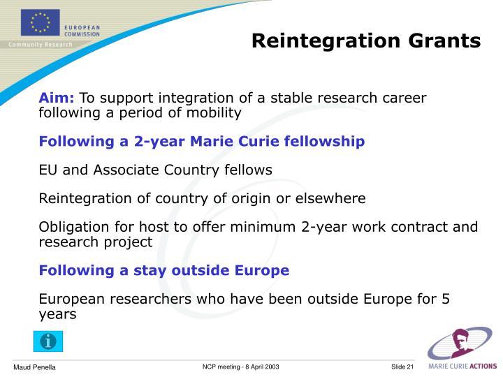 Reintegration Grants