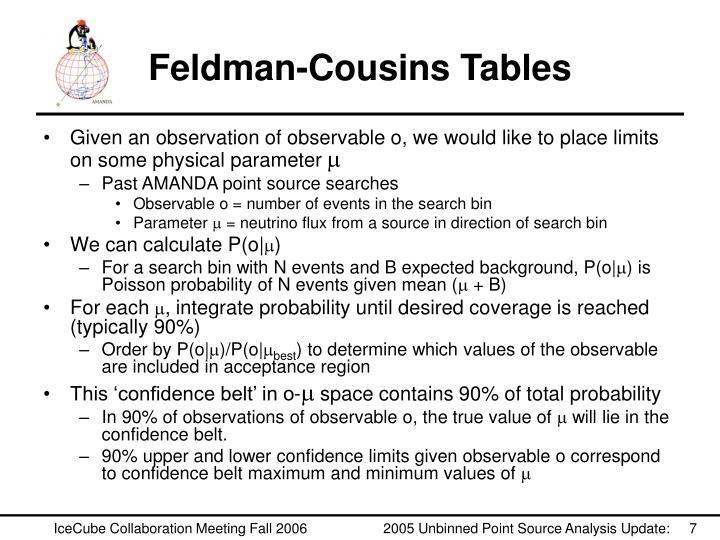 Feldman-Cousins Tables