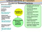 critical elements of transition evidence based practices
