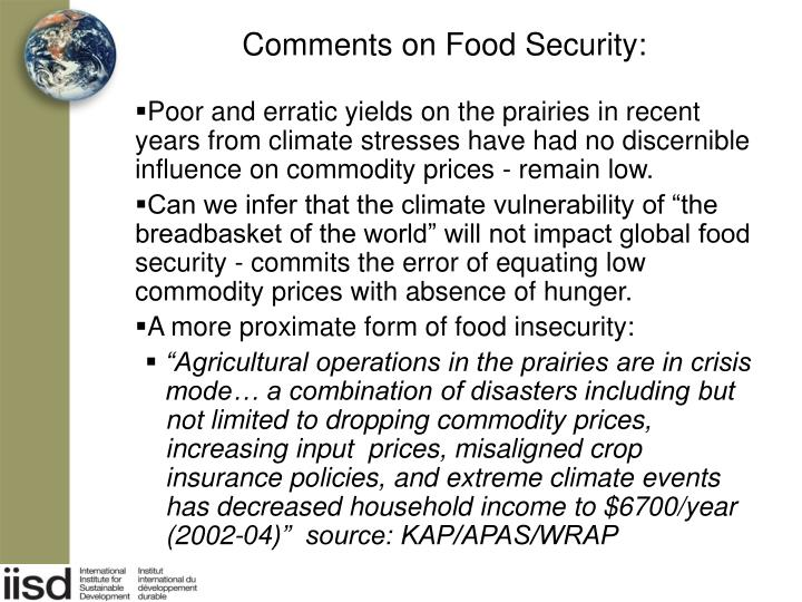 Comments on Food Security: