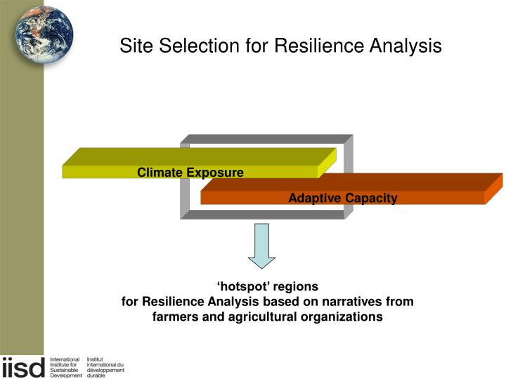 Site Selection for Resilience Analysis