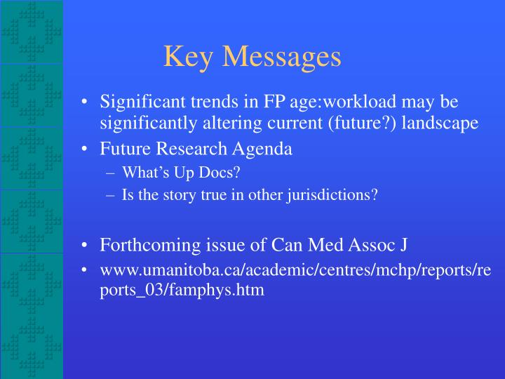Significant trends in FP age:workload may be significantly altering current (future?) landscape