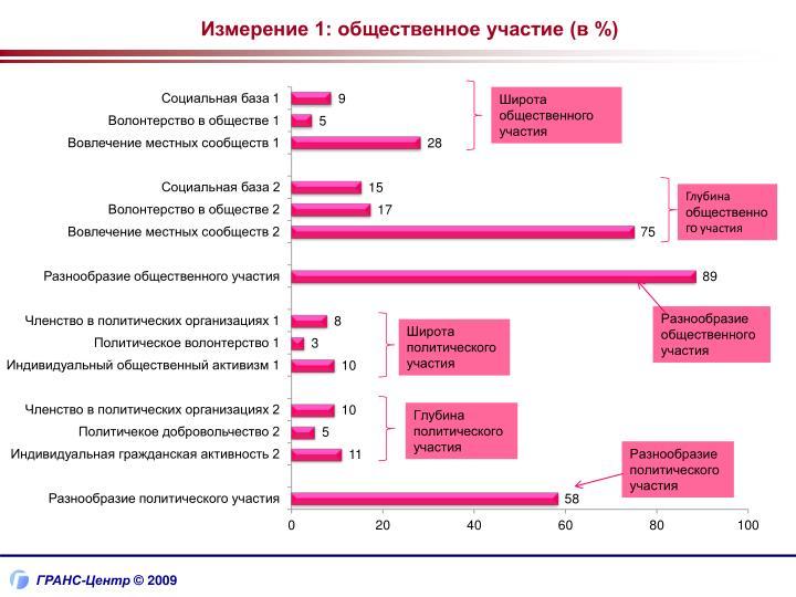 Измерение 1: общественное участие (в %)