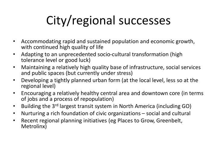 City/regional successes