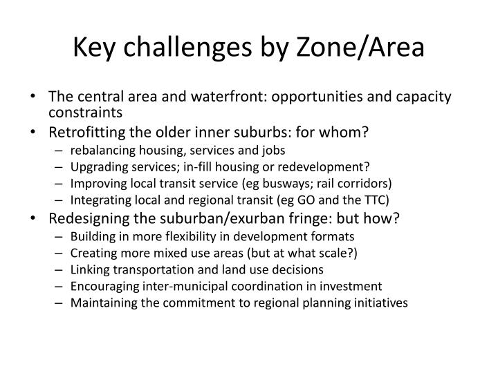 Key challenges by Zone/Area
