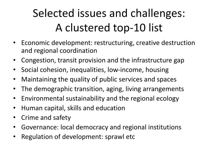 Selected issues and challenges: