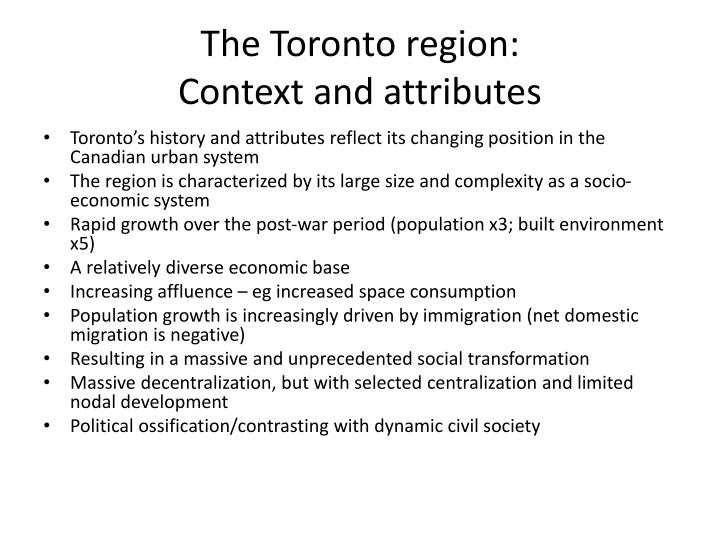 The Toronto region:
