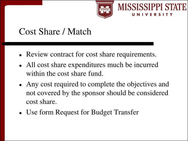Cost Share / Match