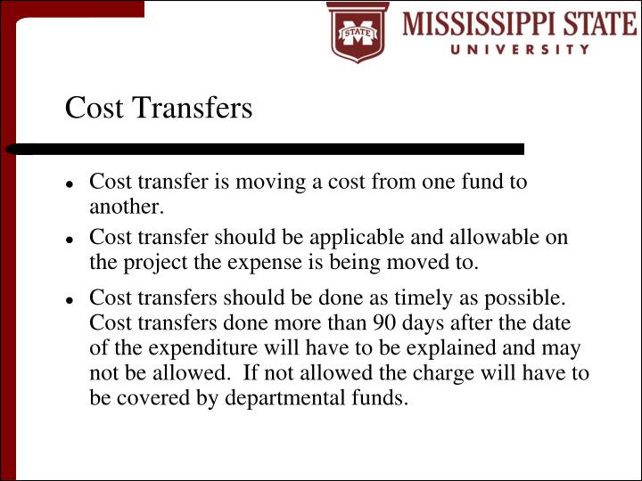 Cost Transfers