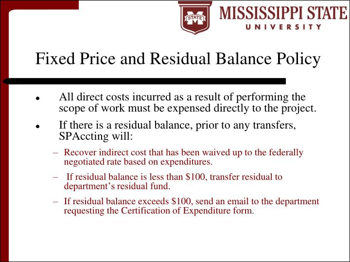Fixed Price and Residual Balance Policy