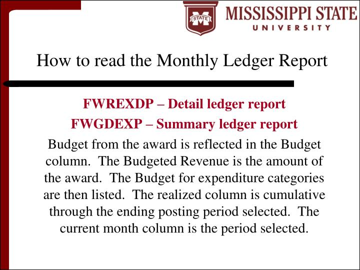 How to read the Monthly Ledger Report