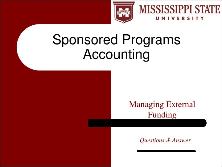 Sponsored Programs Accounting