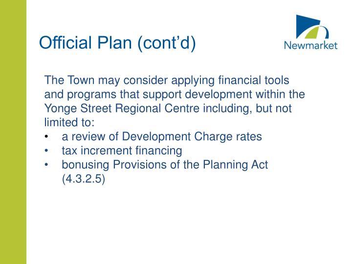 Official Plan (cont'd)