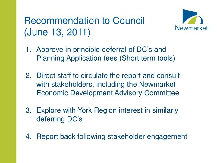 Recommendation to Council