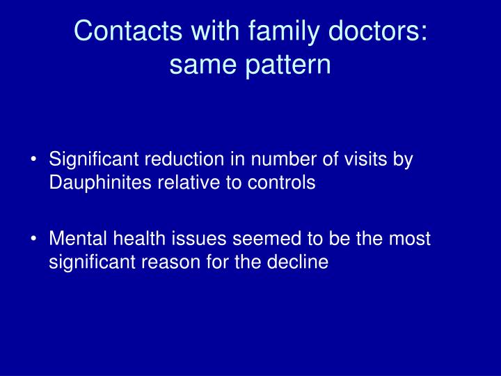 Contacts with family doctors: