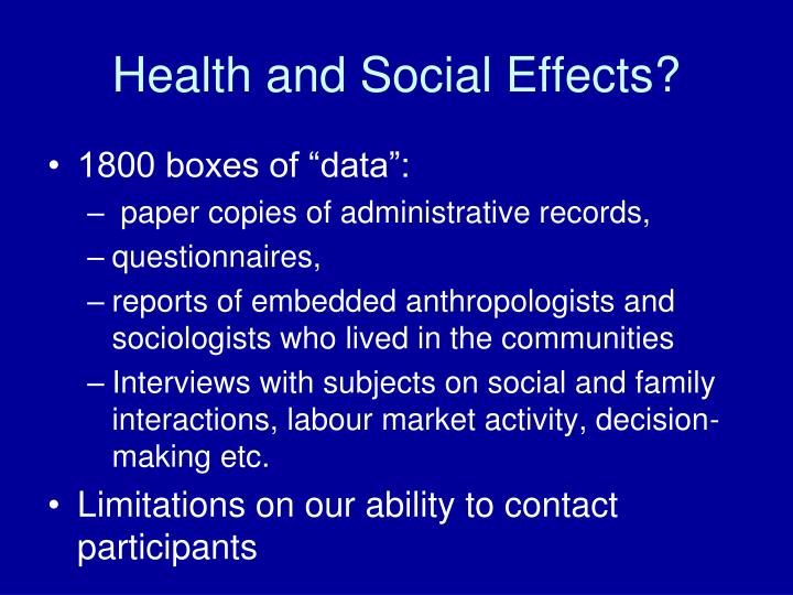 Health and Social Effects?