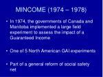 mincome 1974 1978