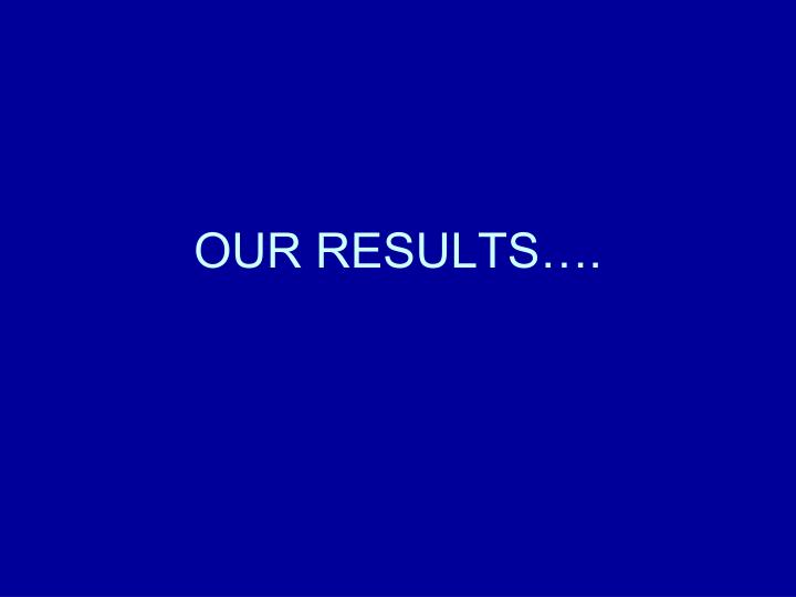 OUR RESULTS….