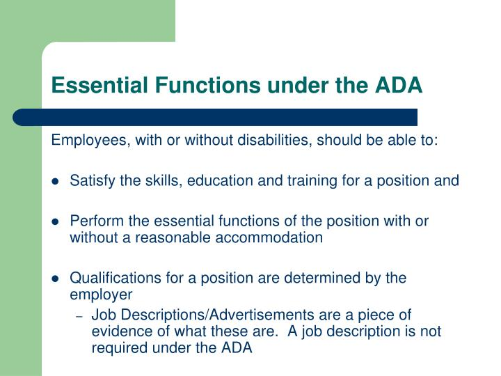 Essential Functions under the ADA