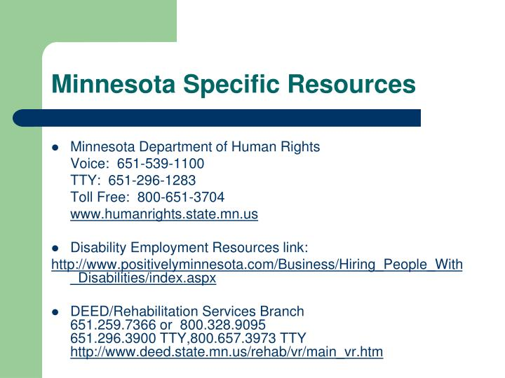 Minnesota Specific Resources