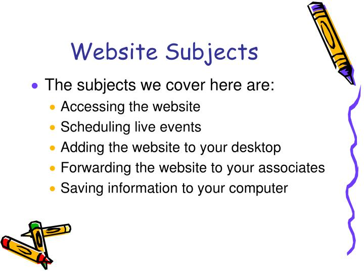 Website Subjects