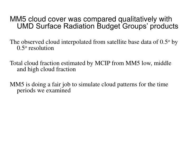 MM5 cloud cover was compared qualitatively with UMD Surface Radiation Budget Groups' products