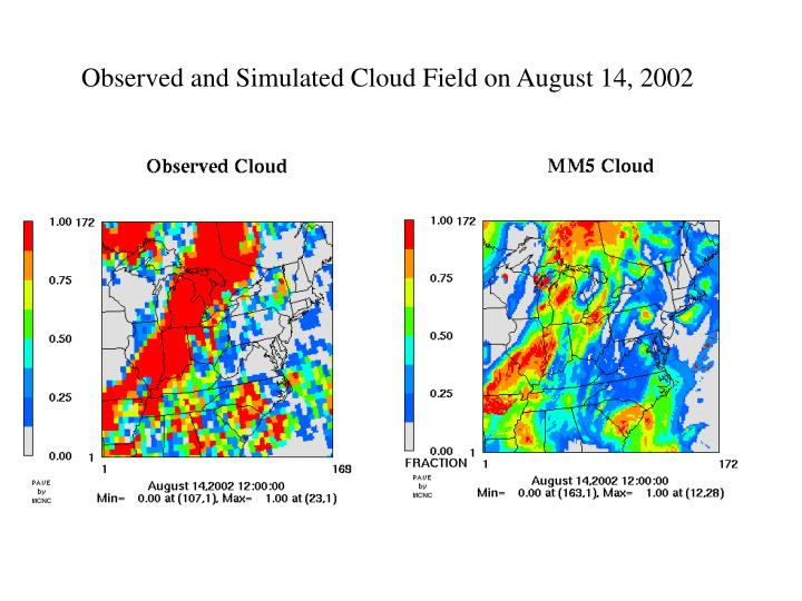 Observed and Simulated Cloud Field on August 14, 2002