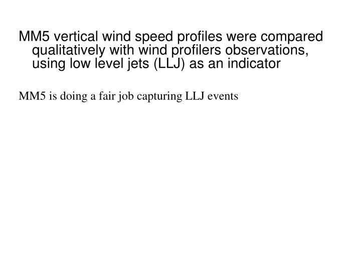 MM5 vertical wind speed profiles were compared qualitatively with wind profilers observations, using low level jets (LLJ) as an indicator
