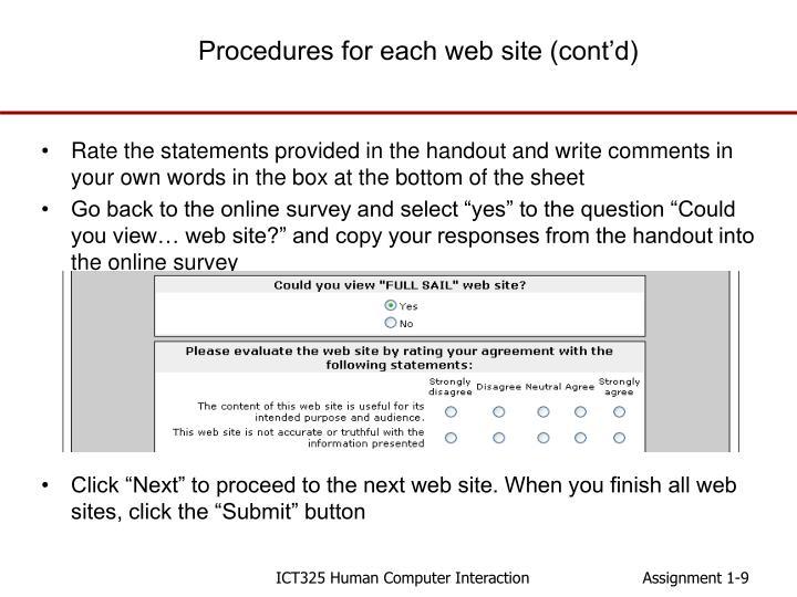 Procedures for each web site (cont'd)