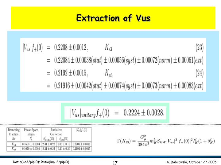 Extraction of Vus