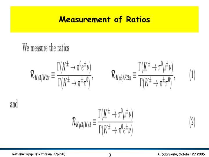 Measurement of Ratios