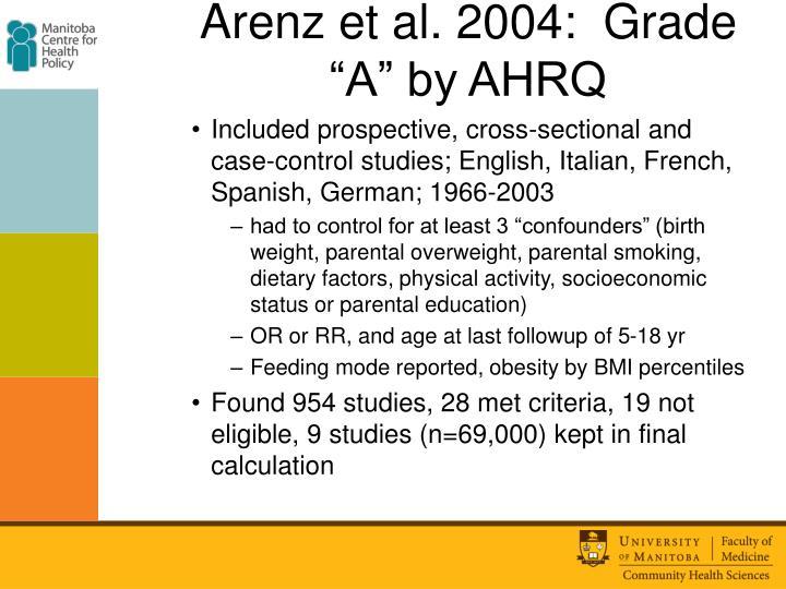 "Arenz et al. 2004:  Grade ""A"" by AHRQ"