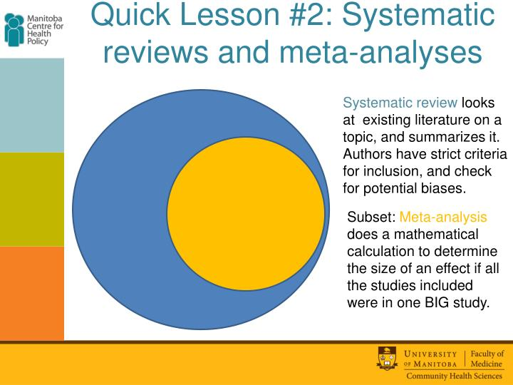 Quick Lesson #2: Systematic reviews and meta-analyses