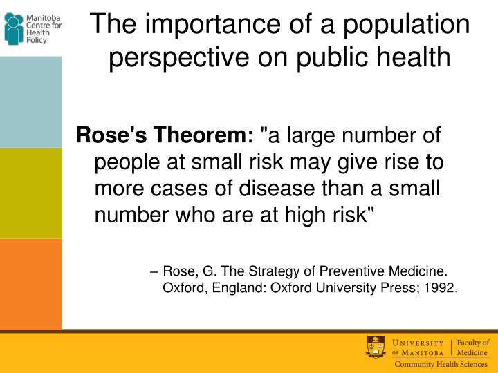 The importance of a population perspective on public health