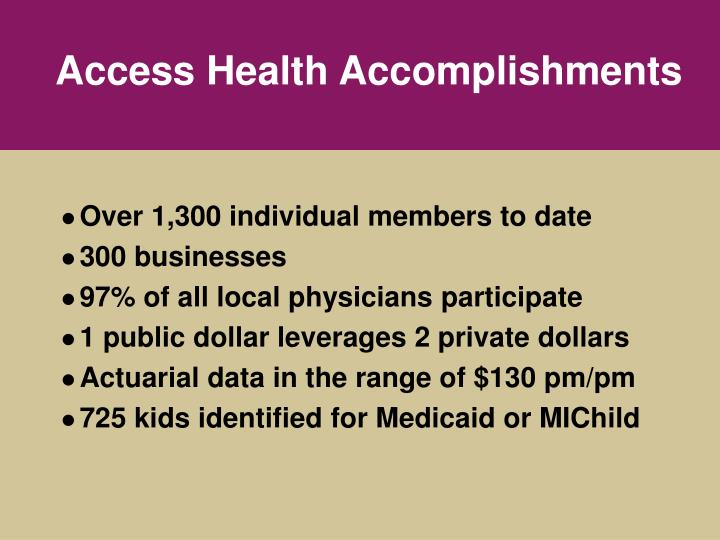Access Health Accomplishments