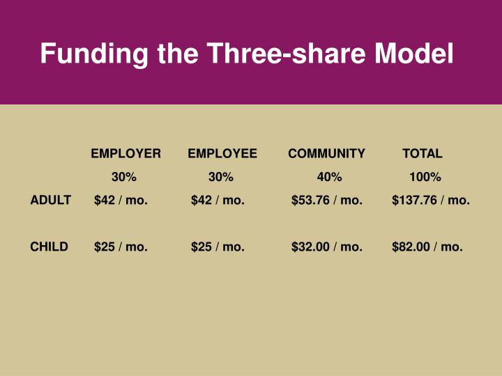 Funding the Three-share Model