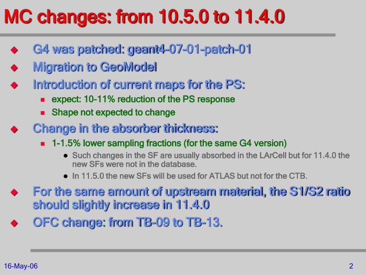 Mc changes from 10 5 0 to 11 4 0
