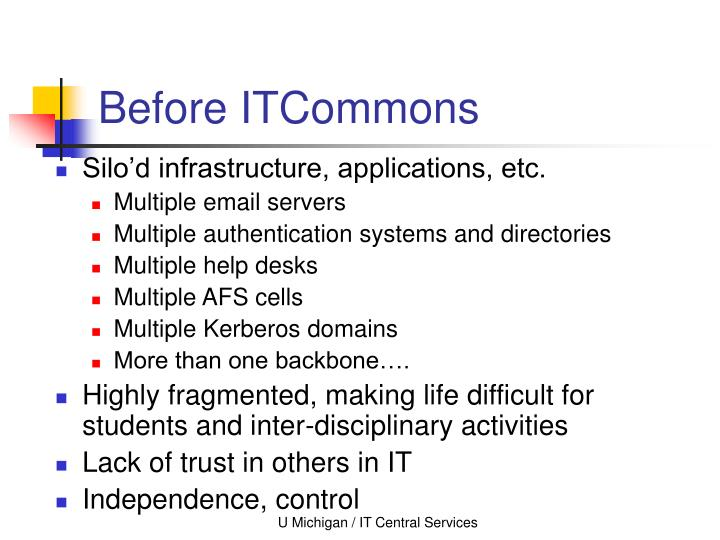 Before ITCommons