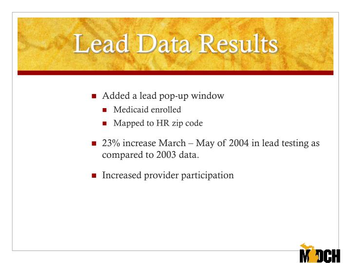 Lead Data Results