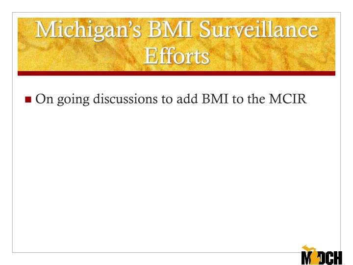 Michigan's BMI Surveillance Efforts