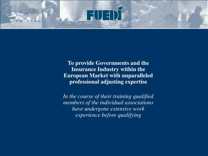 To provide Governments and the Insurance Industry within the European Market with unparalleled  professional adjusting expertise