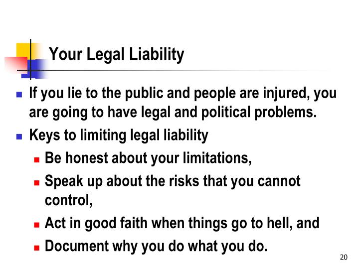 Your Legal Liability