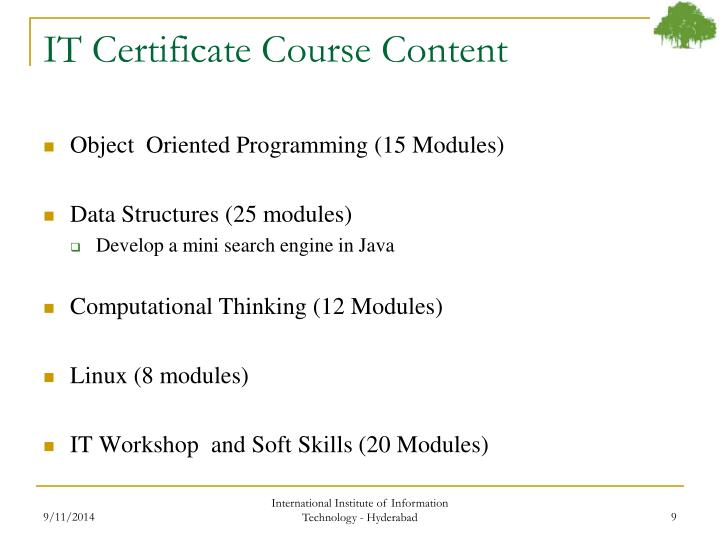 IT Certificate Course Content