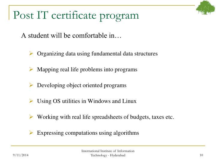 Post IT certificate program